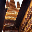 Stockfoto: Golden Temple Wooden Buildings Roof Top Jing Temple Shanghai