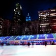 Stock Photo: Ice Skating Rink Bryant Park New York City Skyline Night