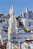 Saint Peter Paul Catholic Church Steeples Houses San Francisco C — Stock Photo