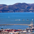 Fisherman's Wharf Golden Gate Bridge Sail Boats San Francisco Ca — Stock Photo