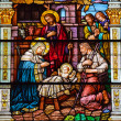 jesus nativity scene stained glass saint peter paul catholic chu — Stock Photo