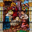 Jesus Nativity Scene Stained Glass Saint Peter Paul Catholic Chu - Stock Photo
