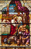 Jesus At Cana Stained Glass Saint Peter Paul Catholic Church San — Stock Photo