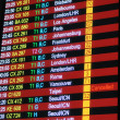 Flight schedule information board - Stock Photo
