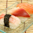 Shrimp, surf clam and salmon sushi - Stock Photo