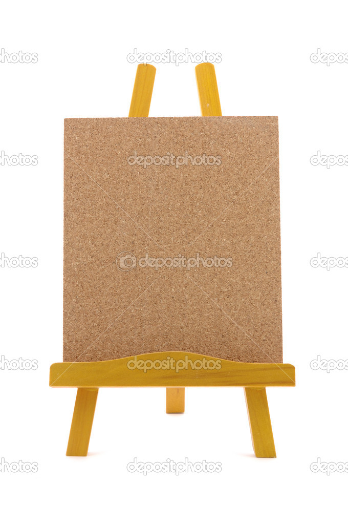 Corkboard with wooden stand in isolated white background — Stock Photo #8000747