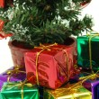 Close up of presents under christmas tree — Stok fotoğraf