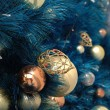 Christmas ornaments on tree — 图库照片