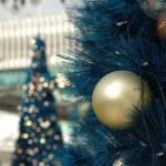 Golden christmas ball on tree — Stock Photo