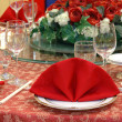 Wedding banquet table details - Stock Photo