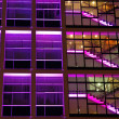 Office building in purple lighting — Stock Photo