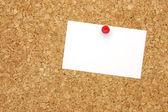 Blank business card on corkboard — Stock Photo