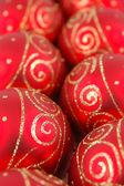 Rows of christmas balls — Stock Photo