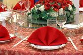 Wedding banquet table details — Stockfoto