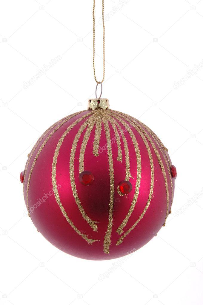 Red christmas ball in isolated white background  Stock Photo #8820183