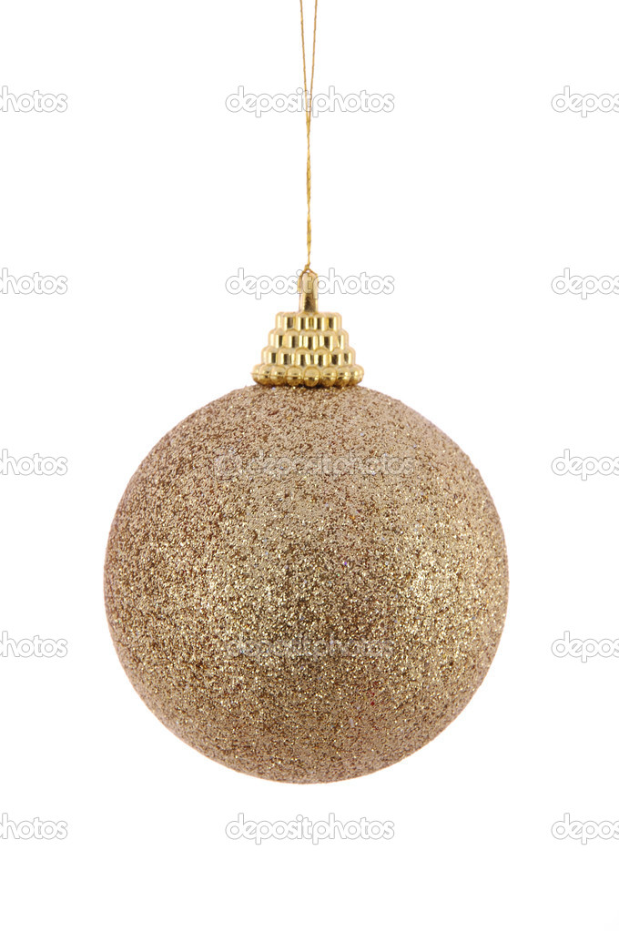 Golden christmas ball in isolated white background  Stock Photo #8820191