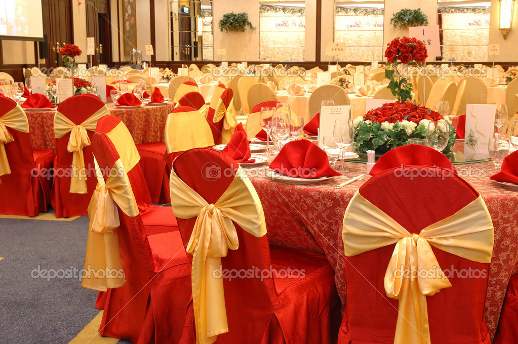 Table setting and decoration in a wedding banquet  Stock Photo #8820765