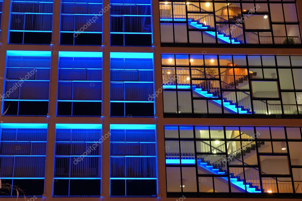 Exterior of an office building in blue lighting — Stock Photo #8820780