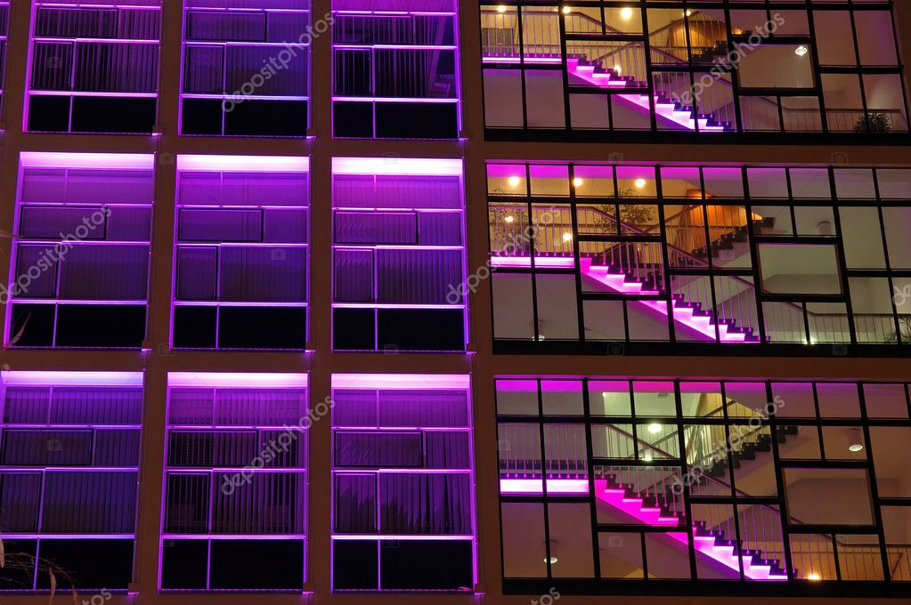 Exterior of an office building in purple lighting — Stock Photo #8820783