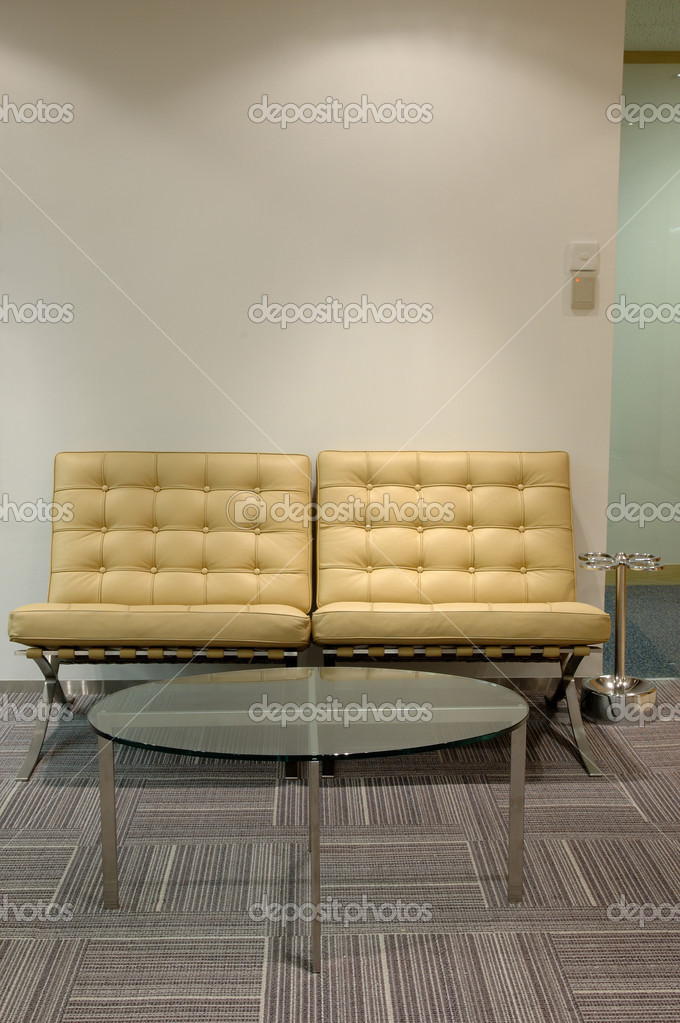 Leather sofa and glass table at waiting corner — Stock Photo #8821023