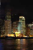 Night scene of business buildings — Stock Photo