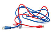 Blue and red network cables — Stock Photo
