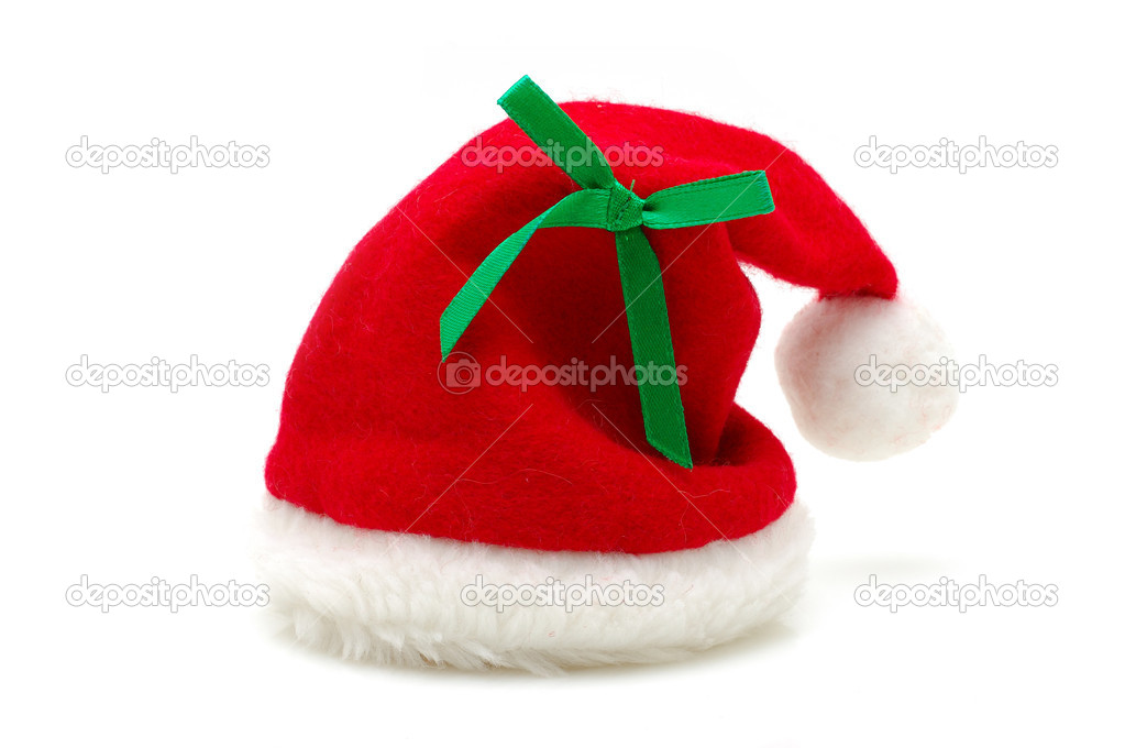 Red santa claus hat in isolated white background — Stock Photo #8872703