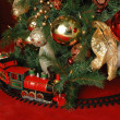 Christmas tree and train — Foto Stock