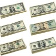 Stacks of US dollar bills — Stock Photo