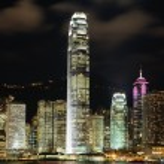 cena noturna de hong kong cityscape — Foto Stock