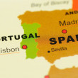 Portugal and Spain on Map — Stock Photo