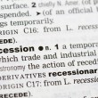 Dictionary definition of recession - Stock Photo