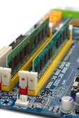 Computer RAM on motherboard — Stock Photo