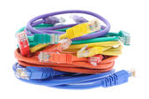 Stack of colorful network cables — Stock Photo