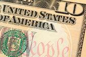 Ten dollar bill closeup — Stock Photo