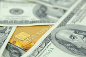 US money and credit card — Stock Photo