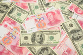US dollar and China yuan background — Stock Photo