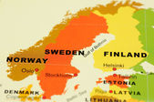Norway, Sweden and Finland on map — Стоковое фото
