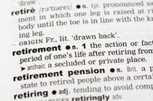Dictionary definition of retirement — Stock Photo