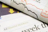 Financial meltdown headlines — Stock Photo