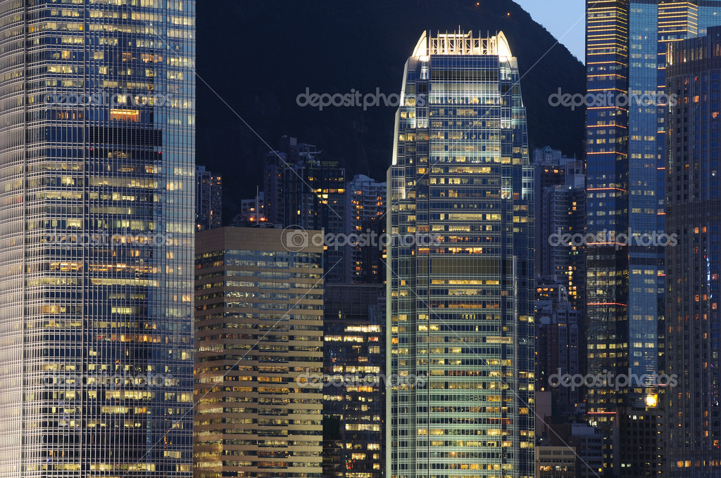 Details of business buildings night scene in Hong Kong — Stock Photo #9146024