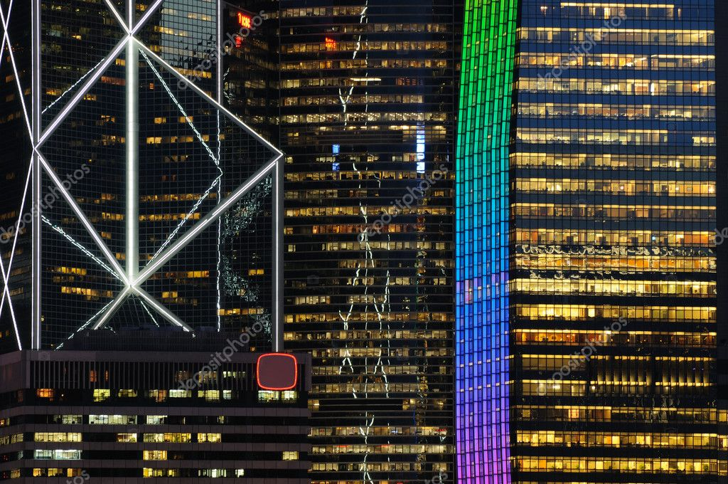 Details of business buildings night scene in Hong Kong  Stock Photo #9146048