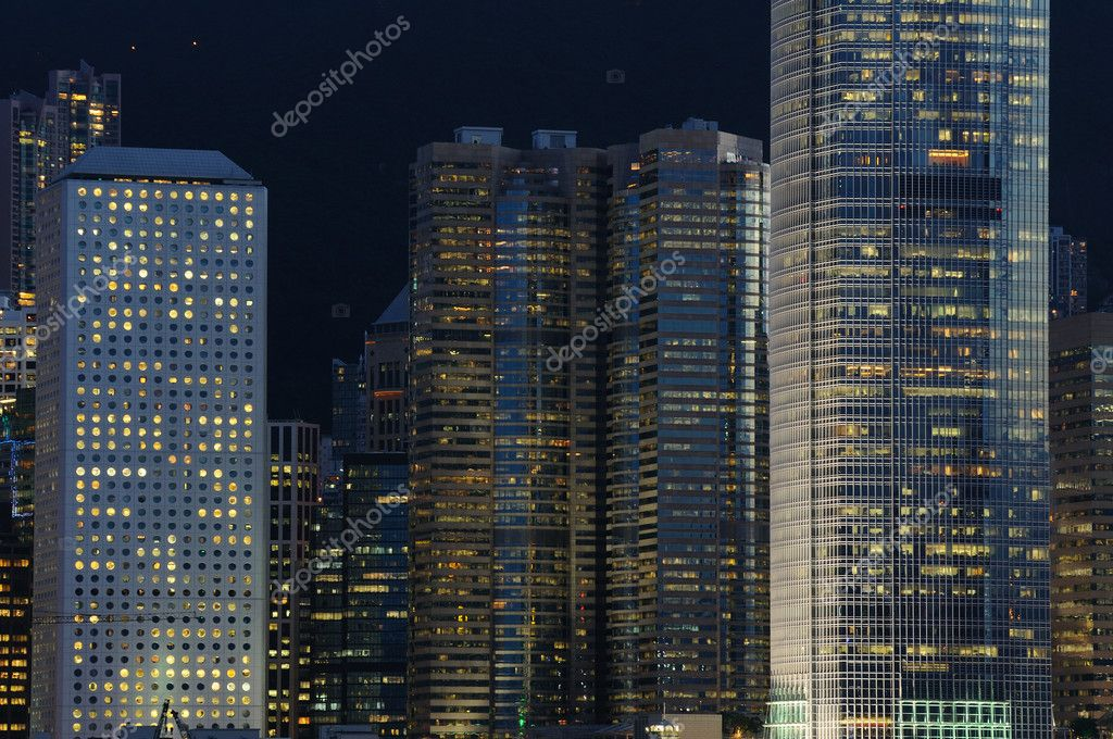 Details of business buildings night scene in Hong Kong  Stock Photo #9146238