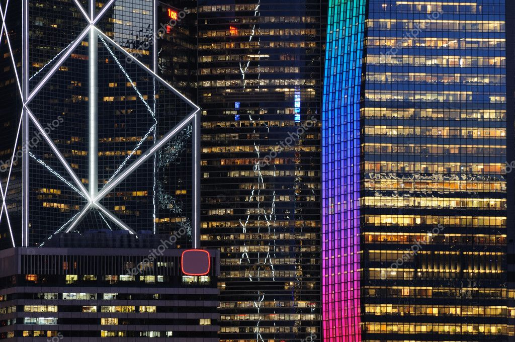 Details of business buildings night scene in Hong Kong — Stock Photo #9146256