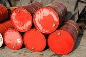 Stack of red drums — Stock Photo