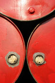 Red industrial drums closeup — Stock Photo