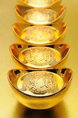 Chinese gold ingots — Stock Photo