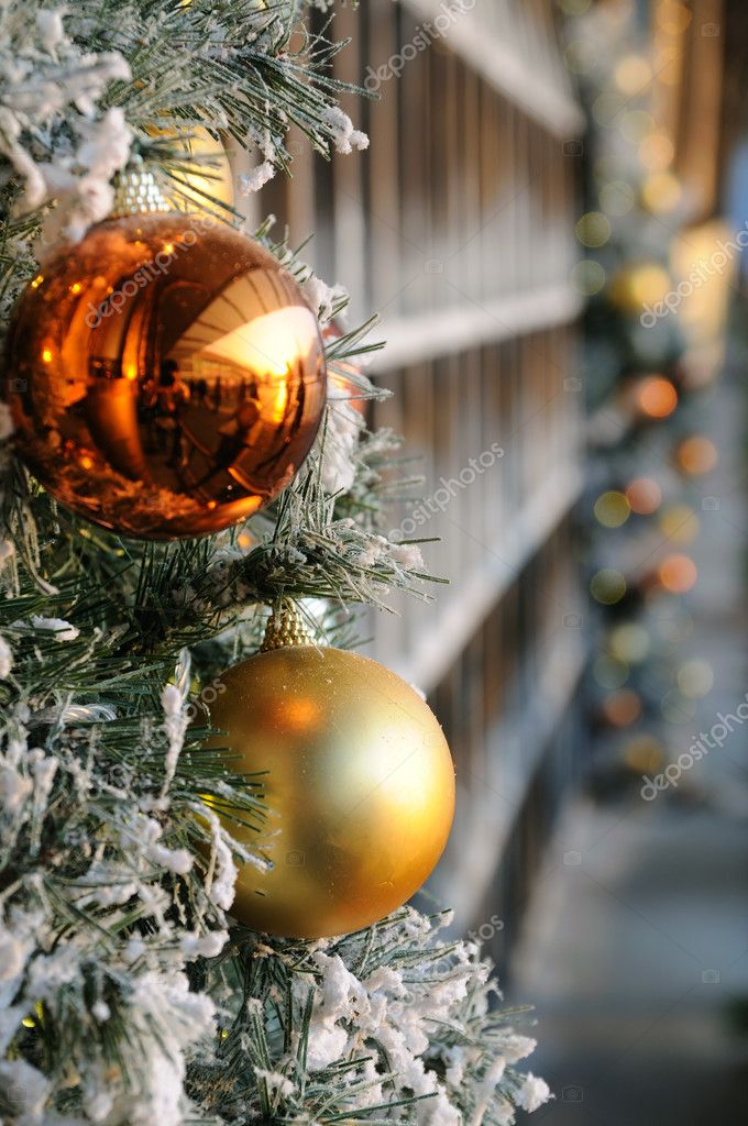 Close up of christmas balls on tree — Stock Photo #9476138