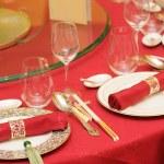Chinese wedding table set — Stock Photo