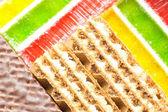 Waffle and jelly background — Stock Photo